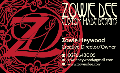 Zowie Dee Custom Made Designs - Business Card Design